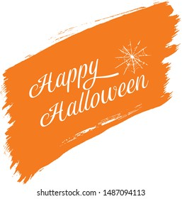 Happy Halloween Orange Brush Vector Background Trick or Treat Handwritten Calligraphy with web spiderman with texture for poster , banner , tshirt , party invitation