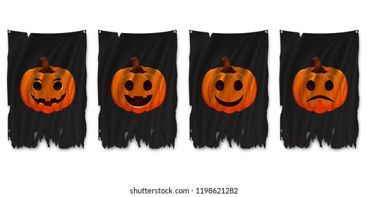Happy Halloween. Orange pumpkins with emotions on torn flag. Vector illustration.