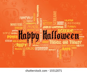 happy halloween and other scary words on an orange background