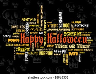 happy halloween and other scary words on a black background