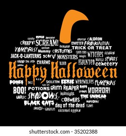 happy halloween and other scary words in the shape of a pumpkin on a black background