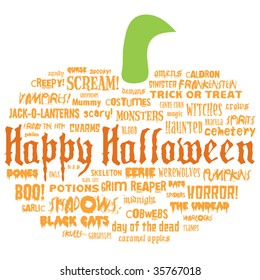 happy halloween and other scary words in the shape of a pumpkin on a white background