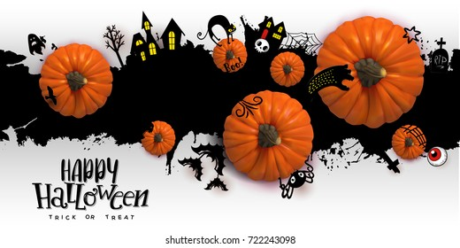 Happy Halloween Paper art banner with cartoon silhouettes on blot background with realistic Pumpkins. Vector illustration. Paper cut holiday design with hand lettering greetings. Retro style banner
