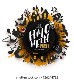 Happy Halloween Paper art banner with cartoon silhouettes around Party logo. Vector illustration. Paper cut holiday design with hand lettering greeting. Party poster, banner, label