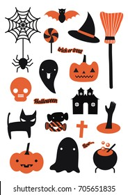 Happy Halloween Party, Background banner icon cartoon freehand style with texture. vector illustration.