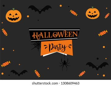 Happy Halloween Party Background Vector Illustration. Halloween Flat Design. Happy Halloween Party Postcard or Poster or Flyer template.