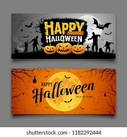 Happy Halloween party banners horizontal collections design background, Vector illustrations