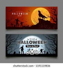 Happy Halloween party banners horizontal design background collections, Vector illustrations