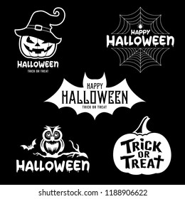 Happy Halloween party black and white design collections on black background, vector illustrations
