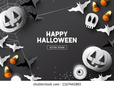 Happy Halloween party composition with Jack O' Lantern pumpkins and party decorations on a dark background. Top view vector illustration.