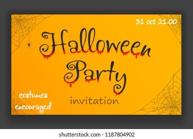 Happy halloween party decoration corner hanging spider web invitation design vector illustration
