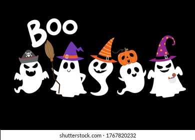 Happy halloween party greeting card with cute ghost and fancy hat. Holidays cartoon character. -Vector