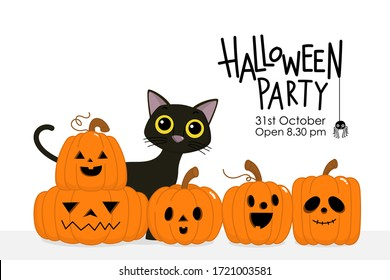 Happy Halloween party invitation card with cute black cat and spooky pumpkin. Animal holidays cartoon character. -Vector.