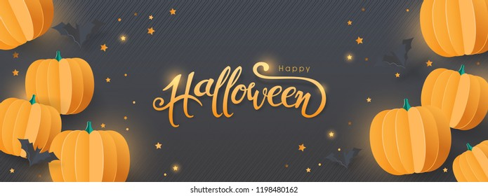 """Happy Halloween party invitation or sale banners background with paper bats and pumpkins.Vector illustration .Calligraphy of """"halloween"""""""