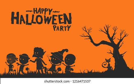 Happy halloween party with kids wearing monster costume isolated on orange background. Vector design for invitation card, greeting card, poster and banner halloween celebration event