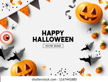 Happy Halloween party label/ invitation Composition with Jack O' Lantern pumpkins, party decorations and sweets on a colorful abstract background. Top view vector illustration.