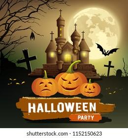 Happy Halloween party message, pumpkin, bat design concept on moon night background, vector illustration