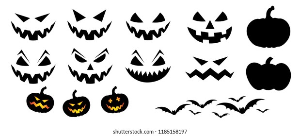 Happy halloween party pumpkins face Vector eps Pumpkins icons Emotion variation Smiley smile emoticons faces emoji doodle funny fun logo 31 october fest flying bats animals emoticon pumpkin Grung
