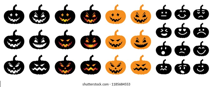 Happy halloween party pumpkins face Vector eps Pumpkins icons Emotion variation Smiley smile emoticons faces emoji doodle funny fun logo 31 october fest flying bats animals emoticon pumpkins Grung