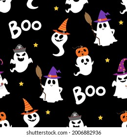 Happy halloween party seamless pattern background with cute ghost and fancy hat. Holidays cartoon character. -Vector