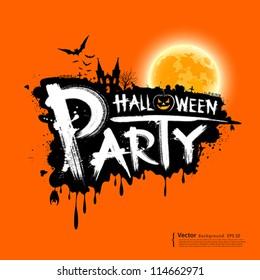 Happy Halloween party text design on orange background, vector illustration