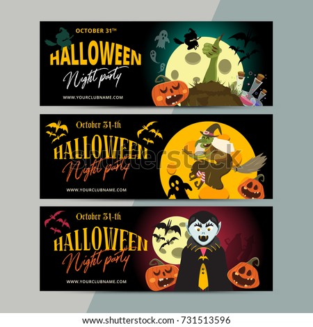 happy halloween party ticket template design stock vector royalty