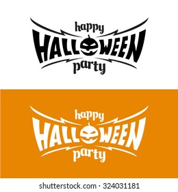 Happy halloween party title logo template. Bat wings shape with evil pumpkin.