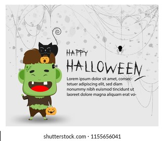 Happy halloween party trick or treat Frankenstein Great for party decoration background,invitation card for holidays with hand bone cobweb and spider cartoon copy space with Text Banner, Vector