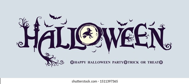 Happy Halloween Party vector logo with and a pretty witch on a background of the full moon. Halloween lettering composition for banner, poster, greeting card, party invitation.