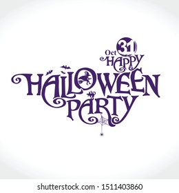 Happy Halloween Party vector logo with and a pretty witch. Halloween lettering composition for banner, poster, greeting card, party invitation.