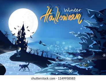 Happy halloween party, winter snowflakes falling concept, mystic castle silhouette fantasy with ice mountains, magic and miracle abstract background vector illustration
