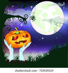 Happy Halloween party with zombie hands, pumpkin, tree and spider. Moon light night background with fog. Vector illustration.
