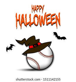 Happy Halloween pattern. Baseball template design. Baseball ball with witch hat. Design pattern for banner, poster, greeting card, flyer, party invitation. Vector illustration