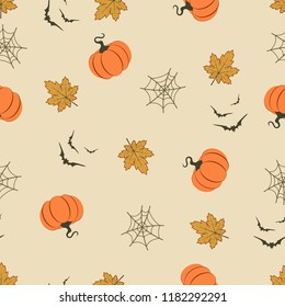 Happy Halloween pattern with pumpkin, bat, web and leaves, monster seamless pattern