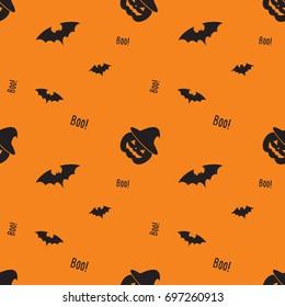 Happy Halloween pattern with pumpkin, bat , witch hat. Monster seamless pattern Vector illustration.