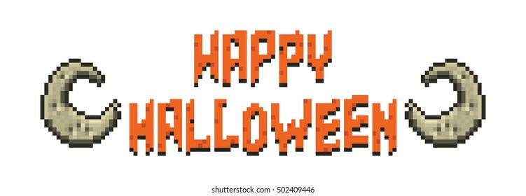Happy Halloween Pixel Banner with Moon on White Background.