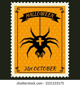 Happy Halloween Postage Stamps with spider, halloween cartoon character symbol. Vector isolated retro vintage