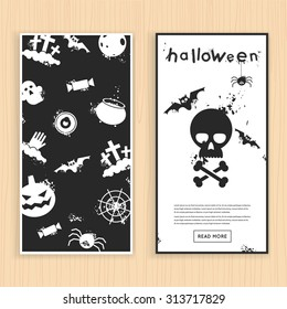 Happy halloween poster, banner, fly-er. Skull and bats. Halloween party. Flat design vector illustration.