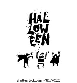 Happy halloween poster, banner, fly-er. Bringing, mummy. Black on white. Lettering. Halloween party. Flat design vector illustration.
