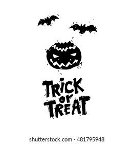 Happy halloween poster, banner, fly-er. Pumpkin. Black on white. Lettering. Halloween party. Flat design vector illustration.