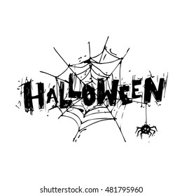 Happy halloween poster, banner, fly-er. Spider web with the spider. Black on white. Lettering. Halloween party. Flat design vector illustration.