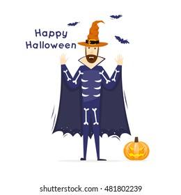 Happy halloween poster, banner, fly-er. Pumpkin. Character. Halloween party. Flat design vector illustration.