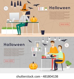 Happy halloween poster, banner, fly-er. Pumpkin. Holiday office. Halloween party. Flat design vector illustration.