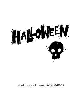 Happy halloween poster, banner, fly-er. Skull. Black on white. Lettering, lino-cut. Halloween party. Flat design vector illustration.