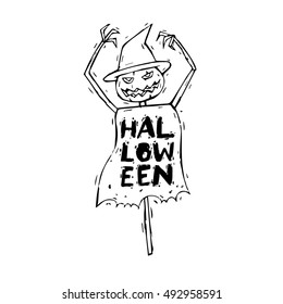 Happy halloween poster, banner, fly-er. Skull. Scarecrow. Black on white. Lettering, hand-drawn, lino-cut. Halloween party. Flat design vector illustration.