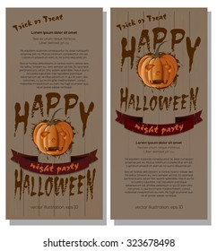 Happy Halloween. The poster in grunge style. Vector template flyer.