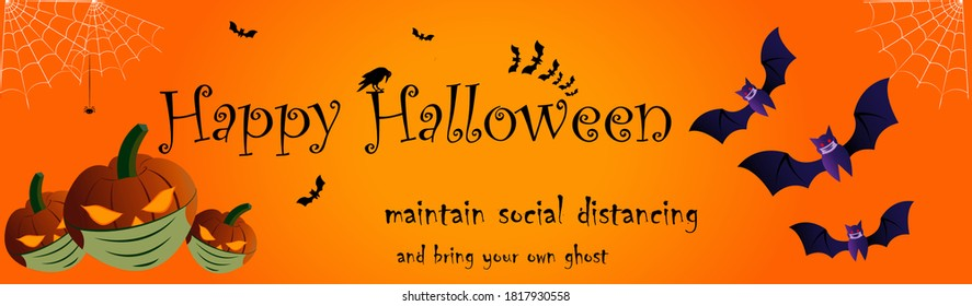 Happy Halloween poster for party invitations & banners. The illustrations shows pumpkin laterns and bats wearing mask to depict the importance of health safety during this crucial period of pandemic.