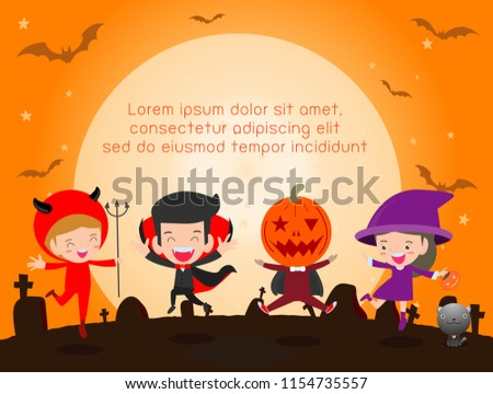 Happy Halloween Poster Party And Theme Design Background Group Of Child In Halloween Costume Jumping