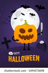 Happy halloween poster with pumpkin scary face expression grimace and knife standing up, moon, bats flat style design vector illustration isolated on dark sky background. Text happy halloween behind.