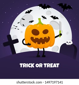 Happy halloween poster with pumpkin scary face expression grimace and knife in the hands standing up flat style design vector illustration isolated on dark background. Text happy halloween with skull.
